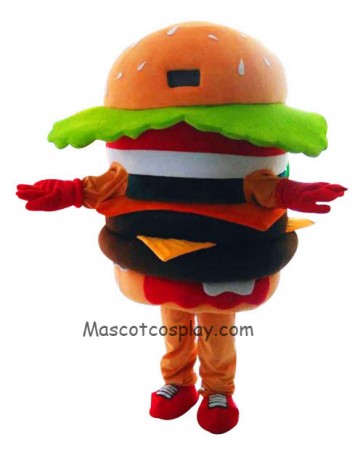 High Quality Adult Food Hamburger Mascot Costumes Christmas Halloween Outfit Fancy Dress Suit