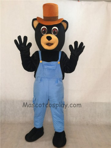 Country Bear Costume Mascot with Overalls and Hat