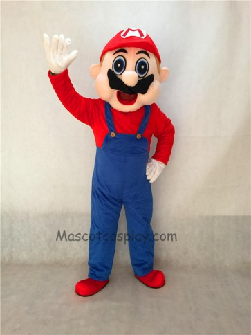 Mario Adult Mascot Costume with Blue Overalls