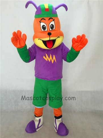 Dog in Purple Shirt and Hat Adult Mascot Costume