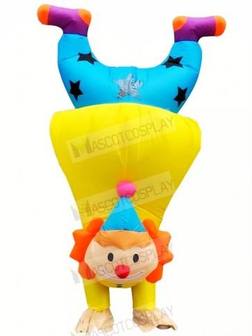 Funny Upside-down Handstand Clown Buffoon Joker Inflatable Mascot Costume Cartoon