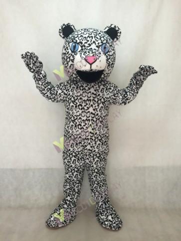 White Cute Leopard Cub Mascot Costume