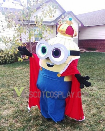 High Quality Despicable Me Minions King Bob  Mascot Costume with Cape Fancy Dress Outfit