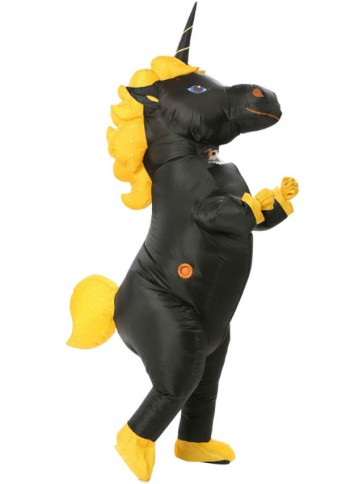 Black Unicorn Horse Blow Up InflInflatable Costume Halloween For Adults