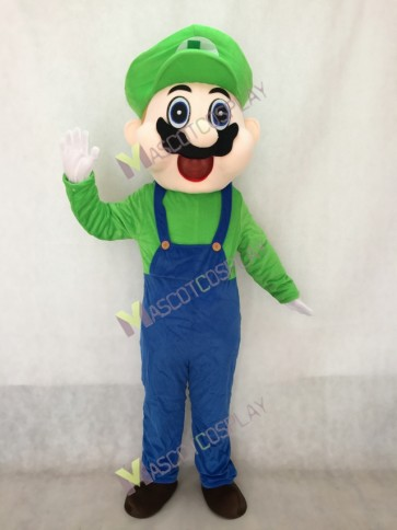 Green Mario Mascot Costume in Blue Overalls