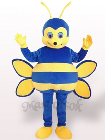 Blue Bee Short Plush Adult Mascot Costume