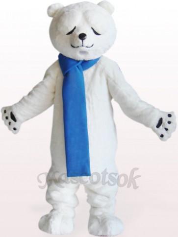 Polar Bear With Narrowed Eyes Plush Adult Mascot Costume