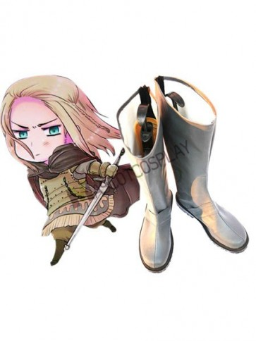 Silver 1 3/5'' Heel Axis Powers Hetalia Faux Leather Cosplay Shoes