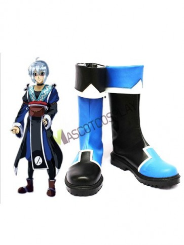 Blue 1 3/5'' Heel Morichika Rinnosuke Faux Leather Cosplay Shoes