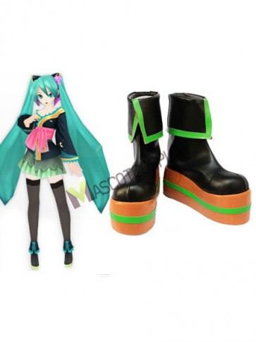 Vocaloid Black 2'' Heel Faux Leather Cosplay Shoes