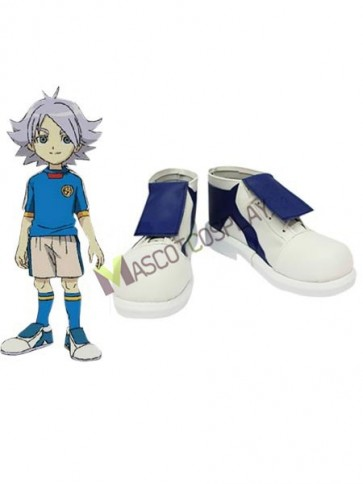 Inazuma Eleven Shawn Frost White Blue Faux Leather 1 1/5'' High Heel Cosplay Shoes