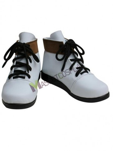 Vocaloid White Faux Leather 4/5'' High Heel Lace-Up Cosplay Shoes