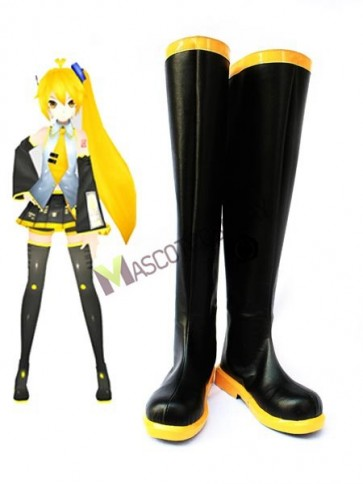 Vocaloid Akita Neru Black Faux Leather 1 1/5'' High Heel Cosplay Shoes