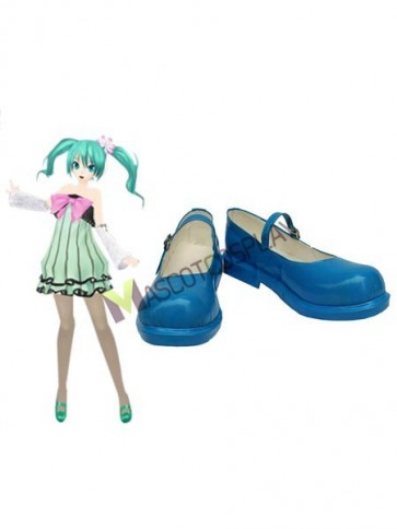 Vocaloid Blue Faux Leather 1 1/5'' High Heel Cosplay Shoes