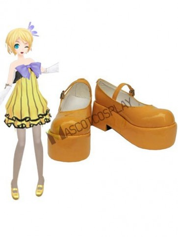 Vocaloid Orange Faux Leather 2'' High Heel Platform Cosplay Shoes