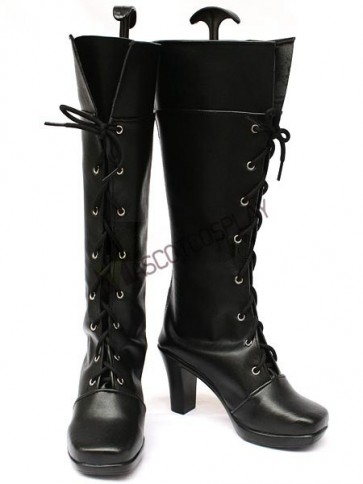 Vocaloid2 Kety Black Faux Leather 3 1/5'' High Heel Lace-Up Cosplay Shoes