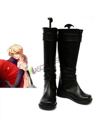 Vocaloid Black Faux Leather 2'' High Heel Cosplay Shoes