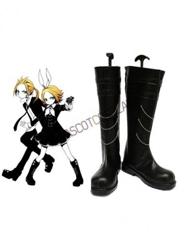 Vocaloid Kagamine Rin Black Faux Leather 1 1/5'' High Heel Buckle Cosplay Shoes
