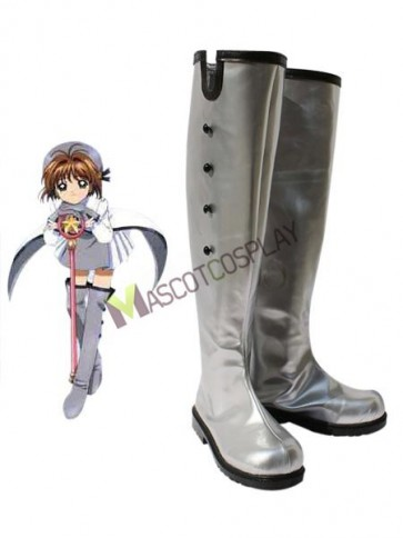 Card Captor Sakura Kinomoto Sakura Silver Faux Leather 1 1/5'' High Heel Cosplay Shoes