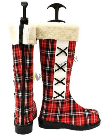 Kuroshitsuji Ciel Phantomhive Red Cloth 1 1/5'' High Heel Plaid Pattern Cosplay Shoes