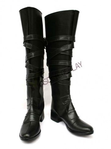 Black Reborn 2'' Heel Faux Leather Cosplay Shoes