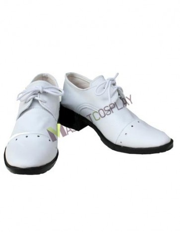 Kuroshitsuji Baronet White Faux Leather 1 1/5'' High Heel Lace-Up Cosplay Shoes