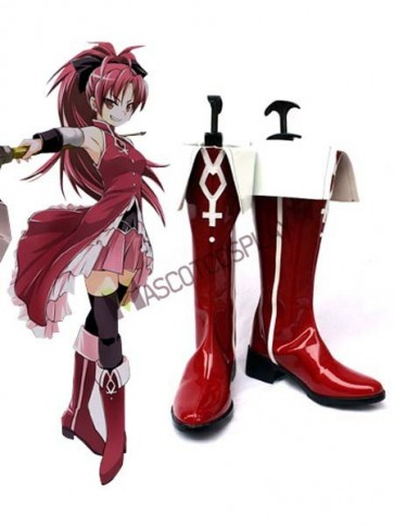 Red Puella Magi Madoka Magica 2'' Heel Faux Leather Cosplay Shoes