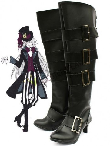 "Black 3 1/2"" Heel Kuroshitsuji UnderTaker Faux Leather Cosplay Shoes"