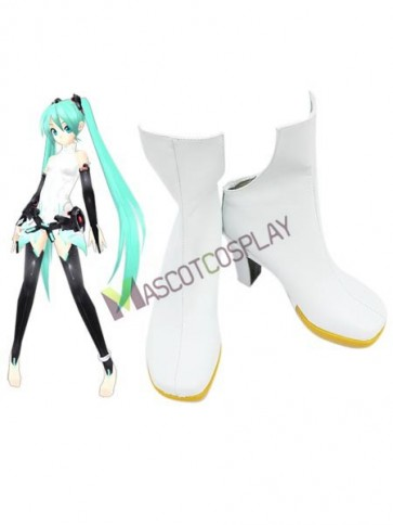"""White 3 1/10"""" Heel Vocaloid APPEND Faux Leather Cosplay Shoes"""
