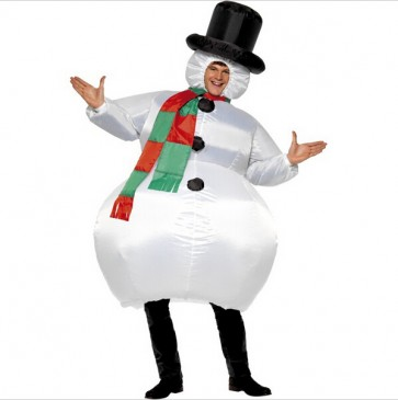 inflatable christmas party cloth snowman costume for women adult fancy costume