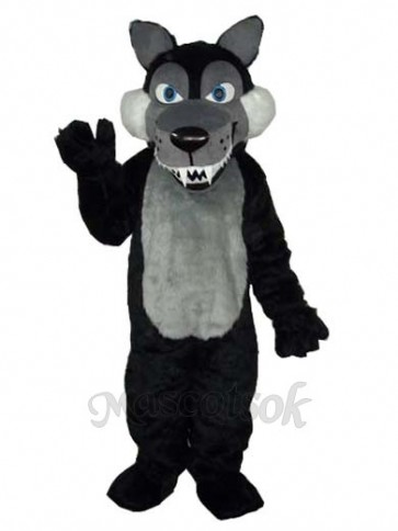 Long Wool Big Black Wolf Mascot Adult Costume