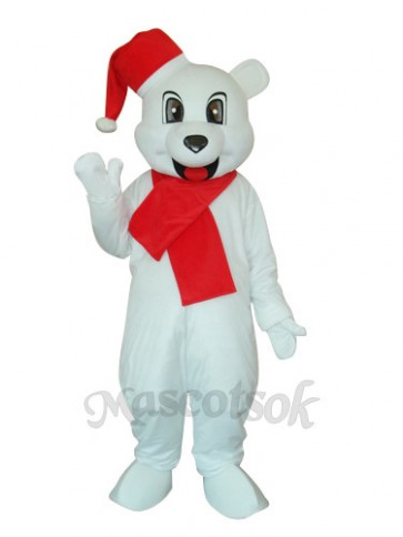 White Christmas Bear Mascot Adult Costume