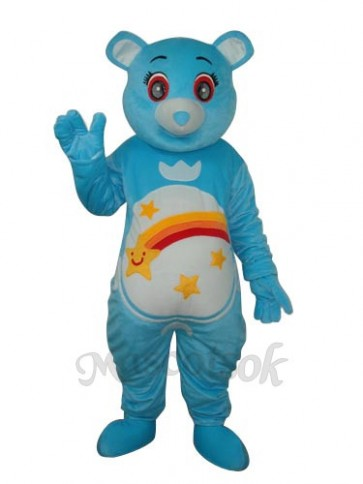 Flower Belly Blue Bear Mascot Adult Costume