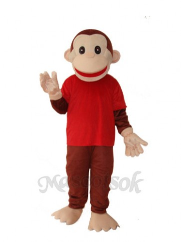 Happy Monkey in Red Shirts Mascot Adult Costume
