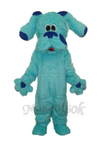 2nd Version Long Hair Blue Dog Mascot Adult Costume