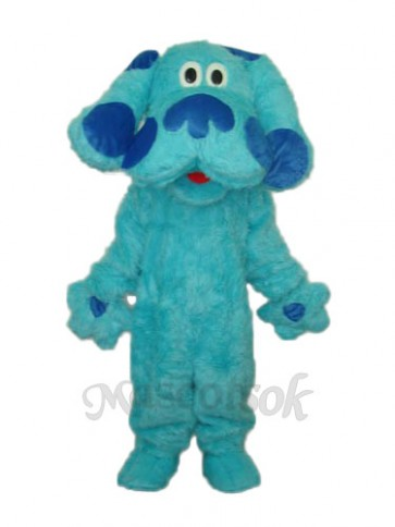 Long Hair Blue Dog Mascot Adult Costume