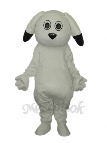 Black Ears White Dog Mascot Adult Costume