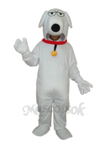 White Dog with Necklet Mascot Adult Costume