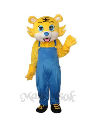 Yellow Tiger in Blue Overall Mascot Adult Costume