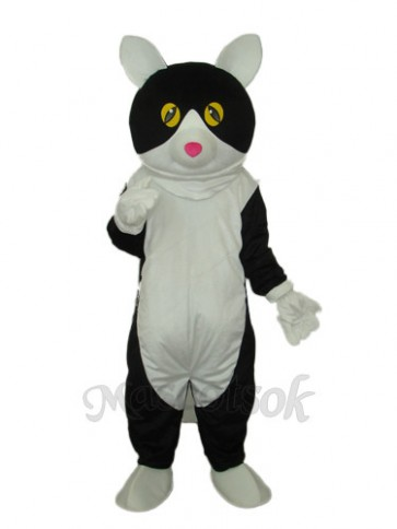White Belly Black Cat Mascot Adult Costume