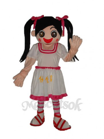 White Dress Little Girl Mascot Adult Costume