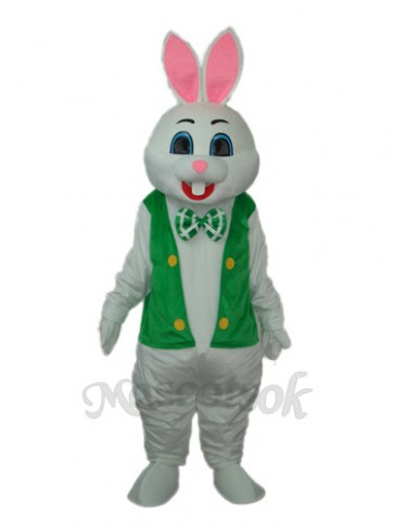 Easter Rabbit with Green Vest Mascot Adult Costume