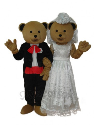 Wedding Bear Bride and Groom Mascot Adult Costume