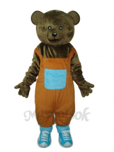 Flat Hair Teddy Bear Mascot Adult Costume