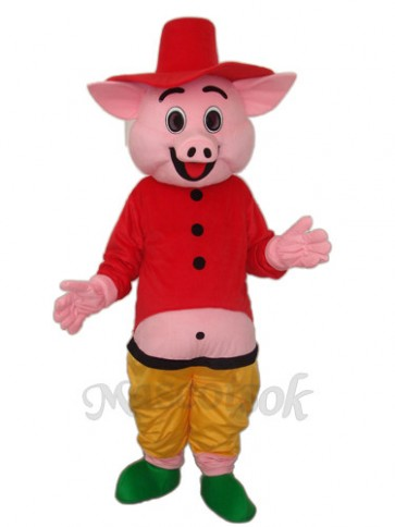 Red Hat Pig Mascot Adult Costume