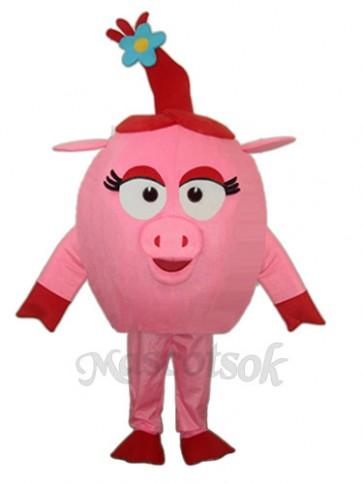 Red Round Pig Mascot Adult Costume
