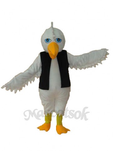 White Eagle in Black Vest Mascot Adult Costume