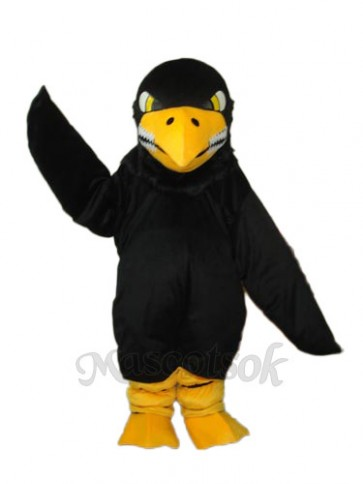 Long Wool Black Eagle Mascot Adult Costume