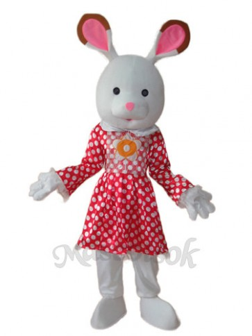 Easter Rabbit in White Dot Red Dress Mascot Adult Costume