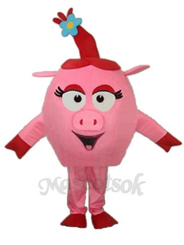 Revised Red Round Pig Mascot Adult Costume